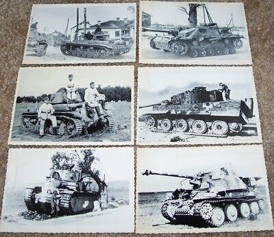Lot Of 6 Reproduction Ww2 German Photos Of Panzers + Allied Tanks
