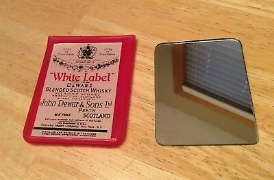 Vintage Dewar's White Label Blended Scotch Whisky Mini Mirror Schenley Import Co