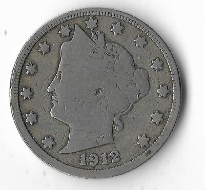 Rare Very Old Antique 1912 US Liberty V Nickel Collection Coin USA 5 Cent Money
