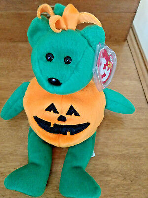 Ty Beanie Baby ~ TRICKY the Halloween Pumpkin Bear ~ MINT with MINT TAGS