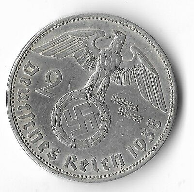 Rare Old Antique Silver 1938 WWII Germany Eagle Super Great War Collection Coin