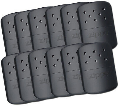 Zippo set of 12 POLISHED BLACK Refillable Deluxe Hand Warmer W Pouch 40310 40334