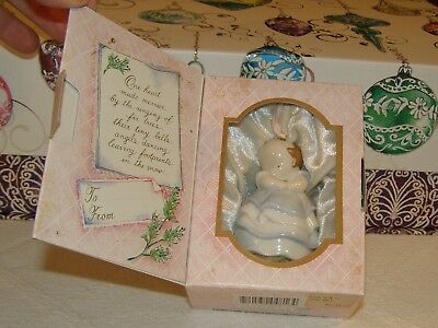 MICHEL & COMPANY Porcelain KEEPSAKE ORNAMENT ANGEL BELL in Box 1988 BABY GIRL