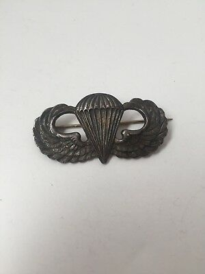 "WWII US Army Airborne Jump Wings Pin Badge ""Durocharm NY Sterling"""
