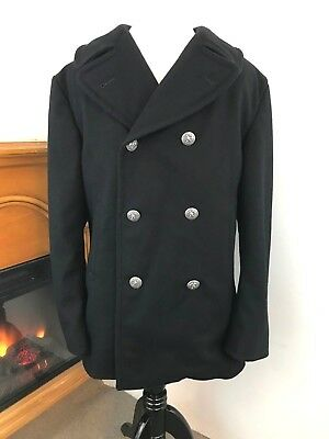 Vintage Men's Seaman Black Double Breasted Pea Coat ~ 40S