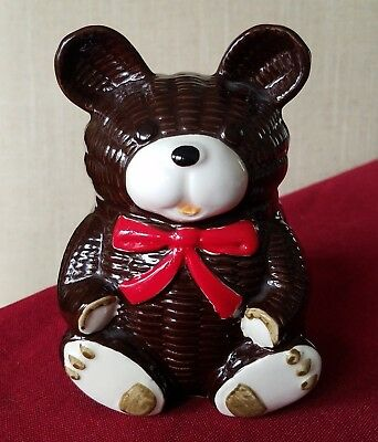 "Vintage 1979 Otagiri 6"" Handpainted Ceramic Teddy Bear Piggy-Bank With Red Bow"