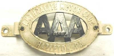 Vintage Aaa Anthracite Motor Club Hazleton Pa Badge