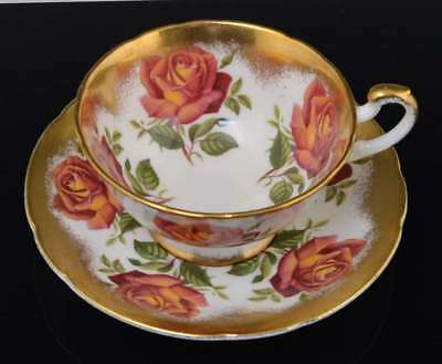 Vintage Footed PARAGON CABBAGE RED & ORANGE ROSES Heavy Gold CUP & SAUCER NR