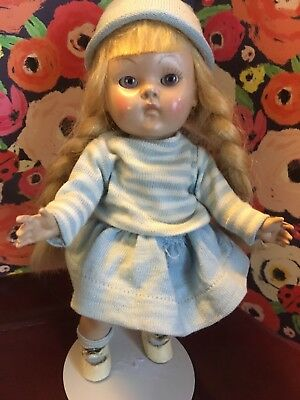 Early Vogue Ginny doll with pale blonde braids, amazing tri-colored eyes