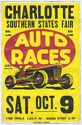 1950's Championship Auto Race North Carolina Vintage Advertising Poster 11 x 17
