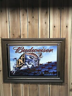"Budweiser Salutes The US NAVY Framed Mirror Very Rare 27""x20"" Mint Condition"