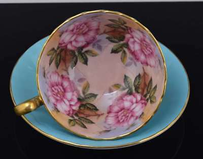 Vintage AYNSLEY Turquoise & Gold CUP & SAUCER PINK CABBAGE ROSES or PEONIES 1031