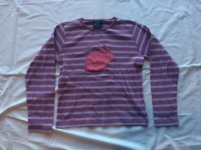 MiNi BoDeN GiRLS Long Sleeve ToP Purple Striped with PiNK BuNNY Sz 11-12