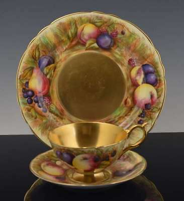 Vintage AYNSLEY Heavy GOLD & FRUITS Signed ORCHARD CUP & SAUCER TRIO # 6746 NR