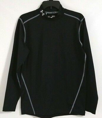 Under Armour Golf Mens Coldgear Fitted Compression Mock Top Size Medium Black