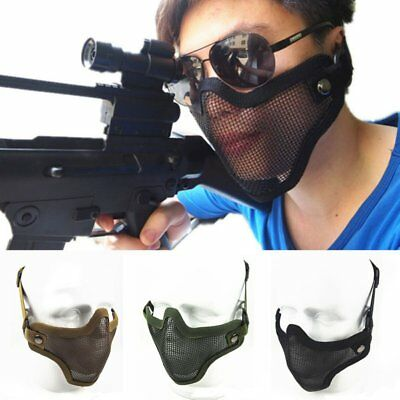 Man Metal Steel Mesh Protective Mask Half Tactical Airsoft Military Mask Gear AU