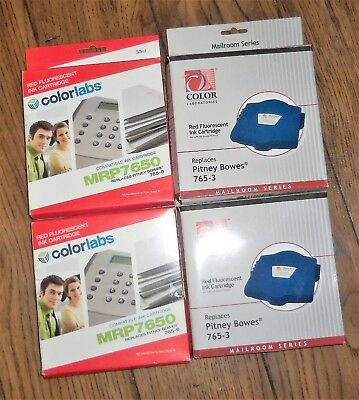 Color Lab Red Fluorescent Ink Cartridge Pitney Bows Replacement 765-3 0 4pc Lot