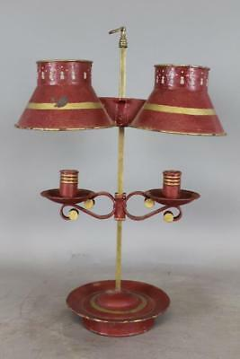 Fantastic Early 19Th C Tin Tole Red Painted Double Bouillote Candle Holder