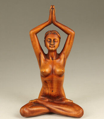 Rare Chinese Old Boxwood Handmade Carved Yoga Statue Home decoration
