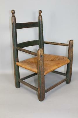 Rare 18Th C William & Mary Child's 2 Slat Armchair In Grungy Dark Green  Paint