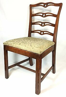 Vintage Chippendale Style Ladderback Chair Wooden Carved Antique Accent Art Deco