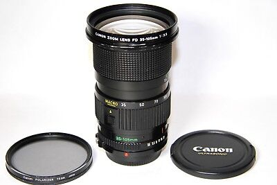 Canon FD 35-105mm f/3.5 Macro Zoom Manual Focus Lens w Canon Polarizing Filter,