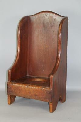 Rare 18Th C Child's Wing Back Settle Potty Chair In Its Original Dark Red Paint