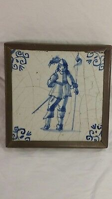 Dutch Delft Framed Antique Tile 18th century depicting soldier
