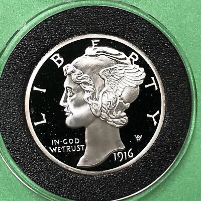 1916 Mercury Dime 2 Troy Oz .999 Fine Silver Collectible Proof Coin Copy Round