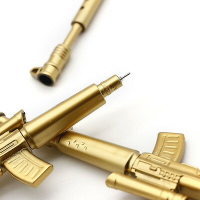 2PC Gold Rifle Shape Black Ink Ballpoint Pen Stationery Office Student Novelty A