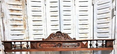 Architectural spindles crowned pediment Antique hand carved wood salvaged crest
