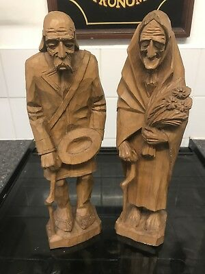 Vintage Black Forest Carved Wooden Elderly Couple