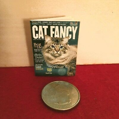 "1:6 scale Handmade mini for 11""-12"" dolls - Cat Fancy magazine w/real pages"