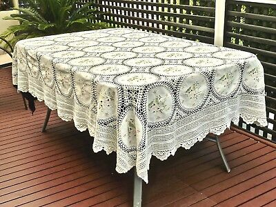 Beautiful Vintage Hand Crafted Cotton Tablecloth Embroidery & Crochet