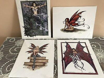 """Lot of Four Amy Brown Faeries, Mermaids 8.5"""" x 11"""" Art prints Whimsical Fantasy"""