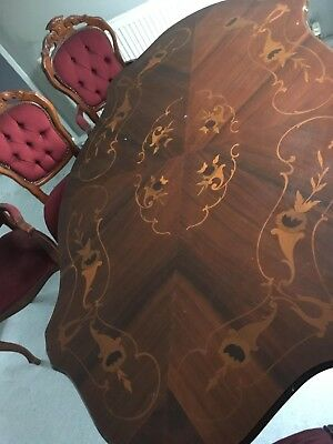 French Style Louis Rococo Pedestal Dining Table And 6 Chairs