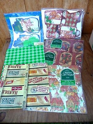 Vintage Flat Christmas Gift Wrap & Tags  HALLMARK & CURRENT Lot of 7