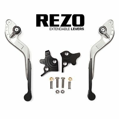 REZO Silver Extendable Brake and Clutch Lever Set for Kawasaki ZX-9R Ninja 98-99