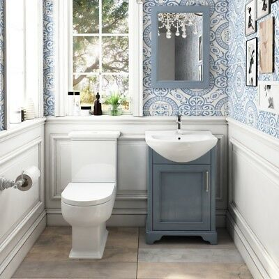 Traditional Bathroom Blue Oak 550mm Vanity Basin Unit with C/C Toilet and Mirror
