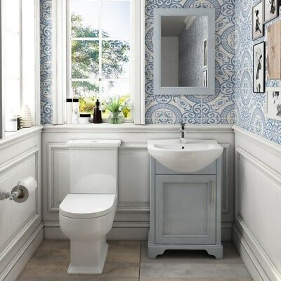 Traditional Cloakroom Grey Oak 550mm Vanity Sink Unit with C/C Toilet and Mirror