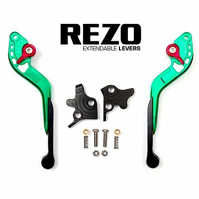 REZO Green Extendable Brake and Clutch Levers for Ducati Hypermotard 796 10-12
