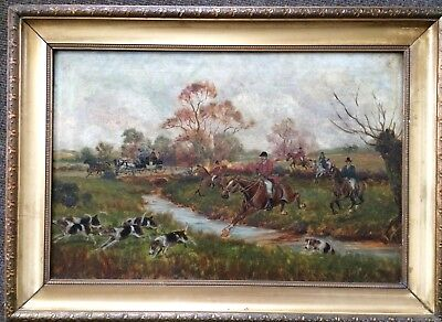 Rare Large Fine Antique Horse , English Fox Hunting Oil Painting 2 Of 2
