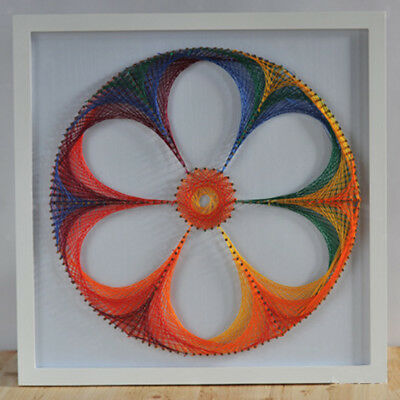 DIY String Pin Art Kit for Kids Adults Colorful Flower Picture Wall Art Deco