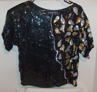 Women's Vintage 80's J.L.B Short Sleeve Black Sequin Beaded Top Size Small