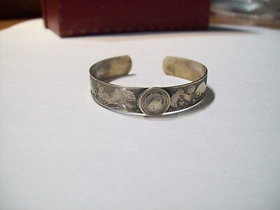 1933 Chicago World Fair Century Of Progress Brass Embossed farm animal Bracelet