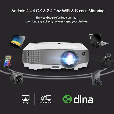 Portable 3600Lumens Android 3D LED Projector Wifi BT 4K HD 1080P Video Cinema FA