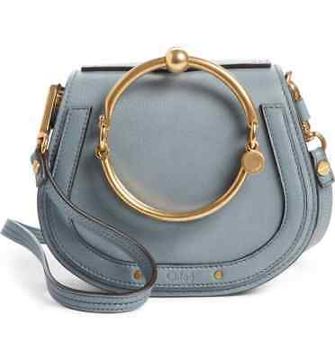 Chloé Small Nile Bracelet Leather Crossbody Blue Small Nile Bracelet Bag