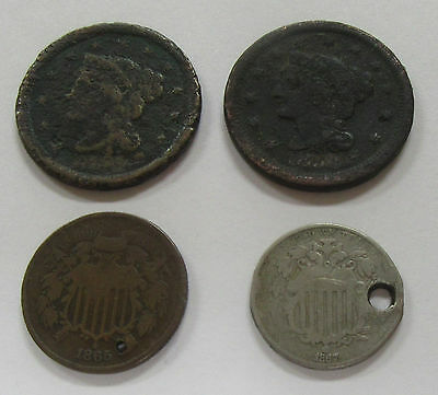 Lot of 4- Early Date United States Large Cent, 2 Cent & 5 Cent Coins