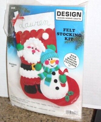 Snowman Felt Embrodery Stocking from Design Works #5256 Kits & How To