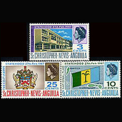 St Kitts Nevis Anguilla, Sc #182-84, MNH, 1967, Independence, 1218